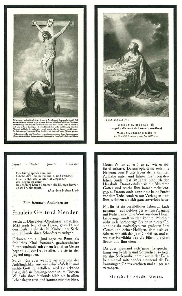 Totenzettel Menden, Gertrud † 04.01.1952