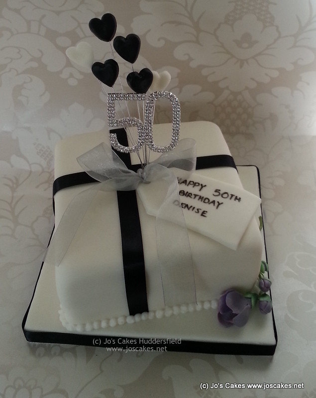 Black And White Present 50th Birthday Cake With Freesia Flickr