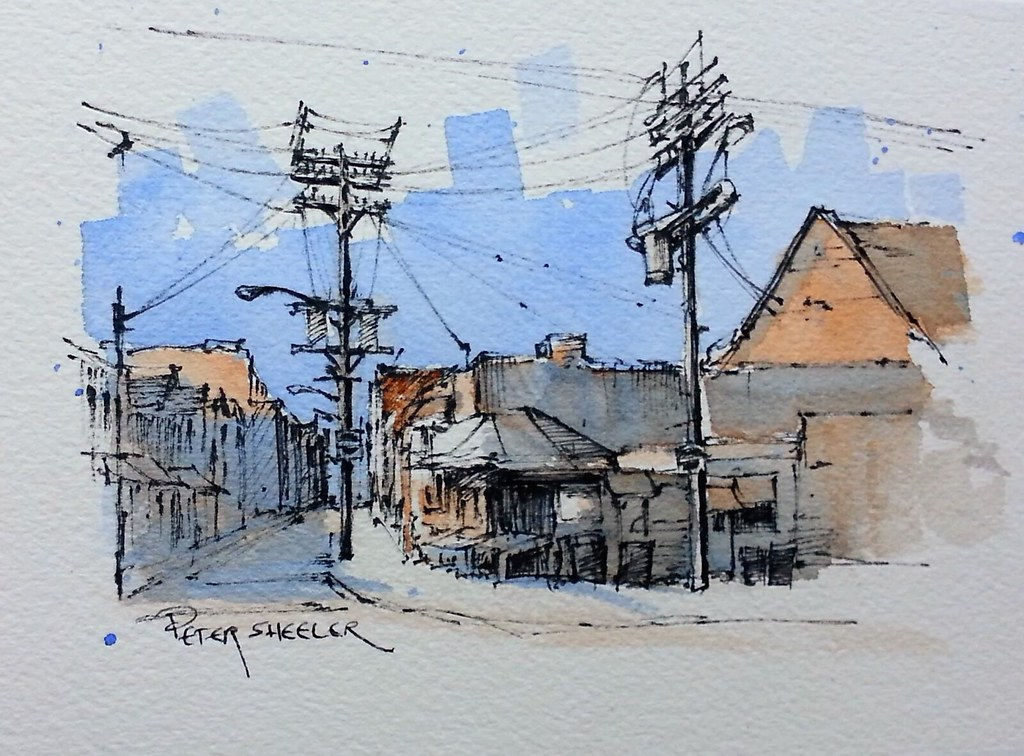 Line Drawing With Watercolor : Quot kensington market toronto line and wash watercolor new