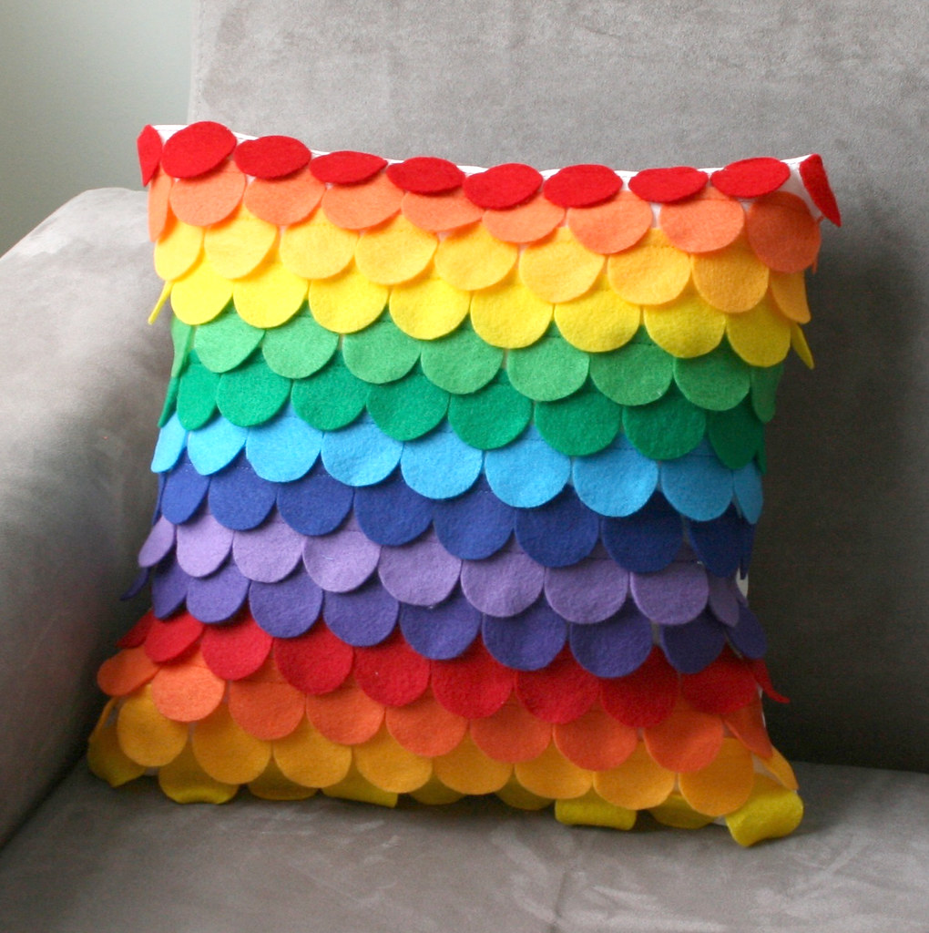rainbow circle felt pillow cover handmade with hand cut