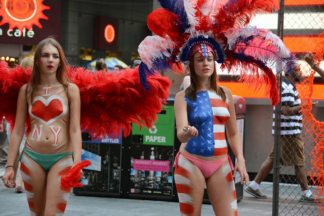 Women In Times Square In Nyc Wearing Only Body Paint -7247