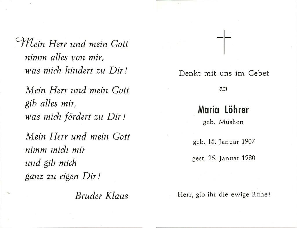 Totenzettel Müsken, Maria † 26.01.1980