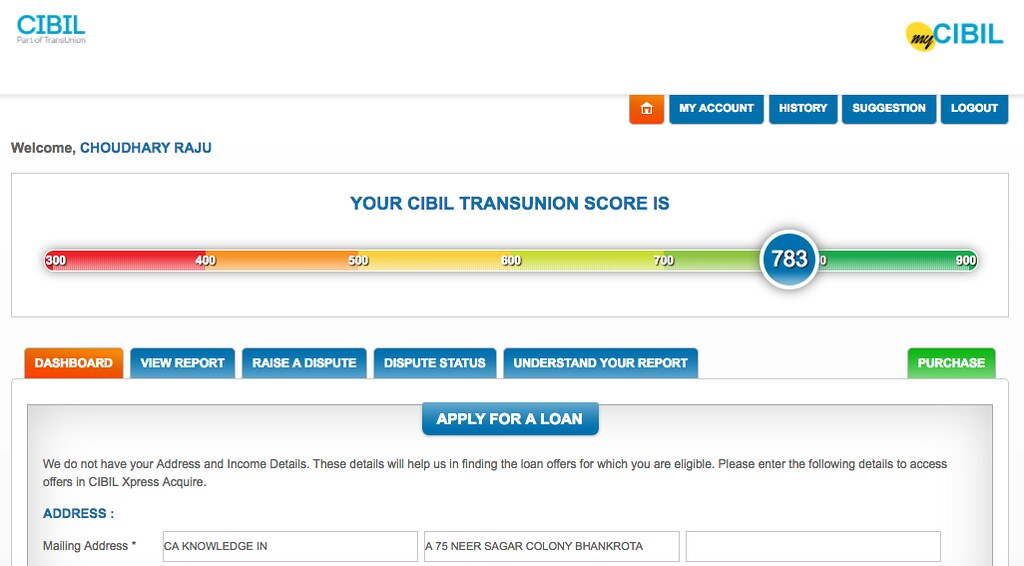 Check your free annual credit report from CIBIL