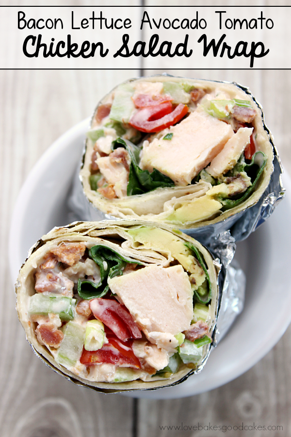 Bacon Lettuce Avocado Tomato Chicken Salad Wrap in a bowl.
