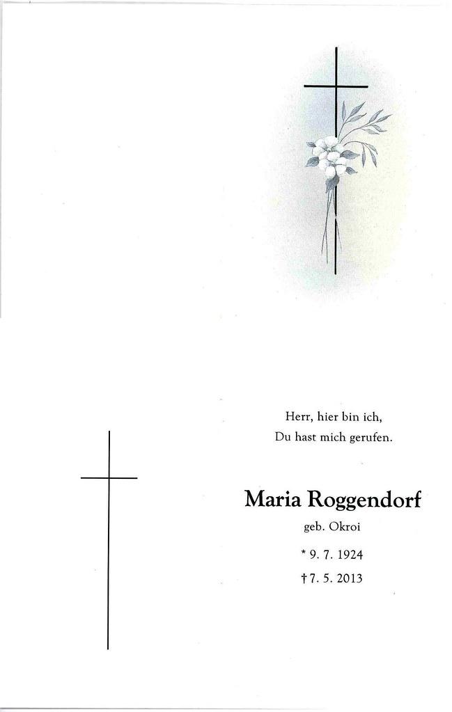 Totenzettel Roggendorf, Maria † 07.05.2013
