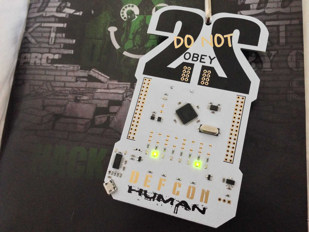 Post Your Pcbs Circuit Board Pu Transparent Waterproof Potting Pcb Defcon 22 Badge Note The Double Rows Of Through Holes On Each Side Some Pads Are Square Round It Was An Encoded Secret