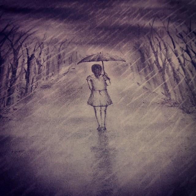 Pencil sketch art drawing girl walking alone rain flickr