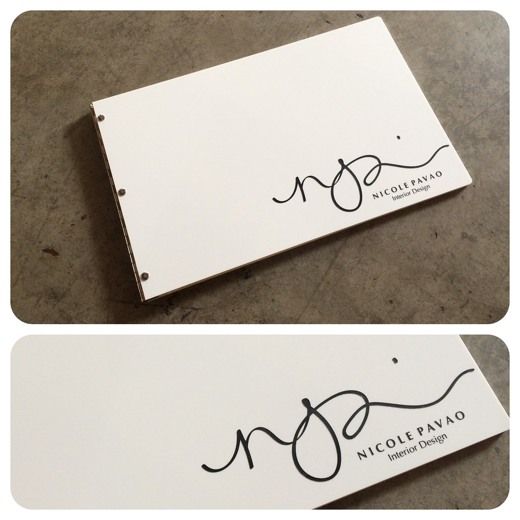 Custom interior design portfolio book in white acrylic wit for Custom interior design