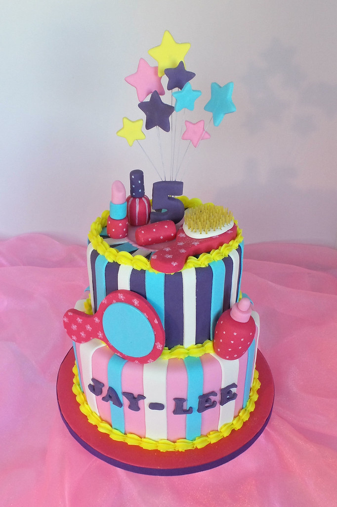 Spa beauty products themed birthday cake design was for Salon cake design