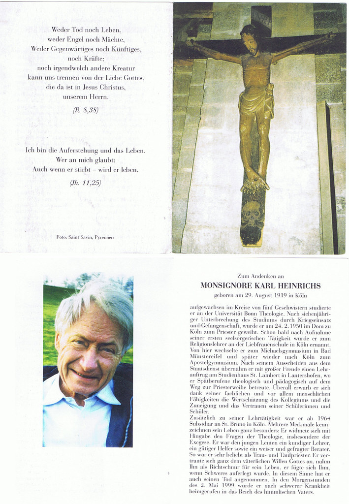 Totenzettel Heinrichs, Karl † 02.05.1999