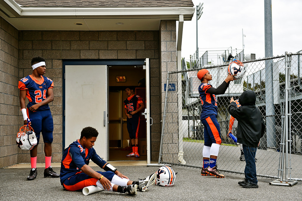 © 2016 by The York Daily Record/Sunday News. From left, Willam Penn football players Marcus Dorsey, Kahliek Savery, Brandon Vargas and Tobee Stokes prepare for a YAIAA football game Saturday, Sept. 24, 2016, at Small Field in York. Red Lion defeated William Penn 49-7 in what was the Bearcats' first Saturday noon home game after two adults were shot outside the stadium during the fourth quarter of a game Sept. 9. York City School District Supt. Eric Holmes made an executive decision to move the rest of the season's home games to Saturdays out of an abundance of caution.