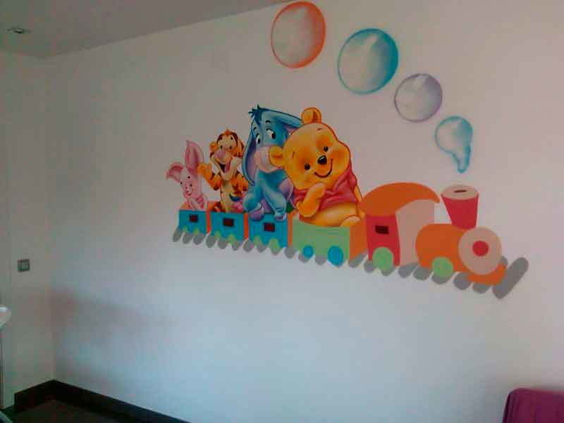 mural infantil tren winnie the pooh y sus amigos decoraci flickr. Black Bedroom Furniture Sets. Home Design Ideas