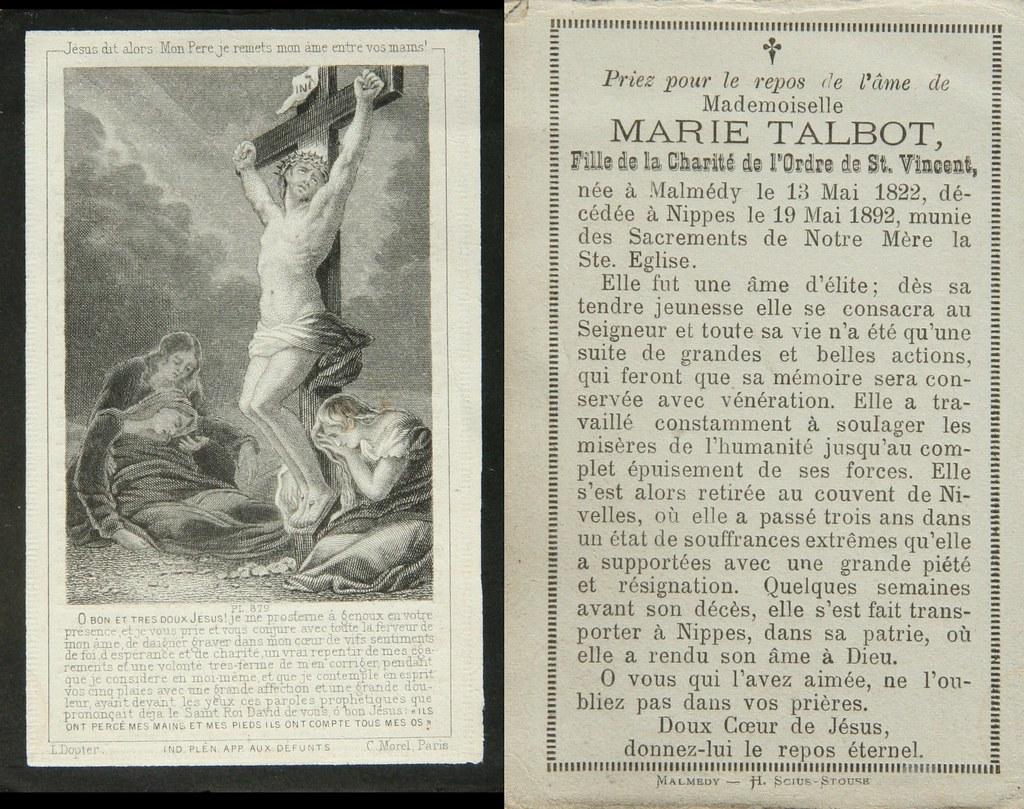 Totenzettel Talbot, Marie † 19.05.1892