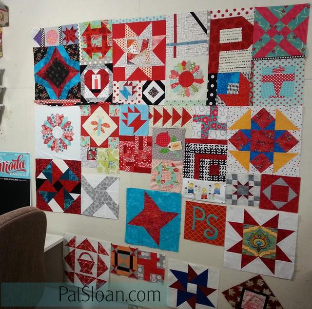 pat sloan birthday block quilt back making1