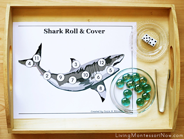 Roll and Cover Shark Counting-Addition Activity