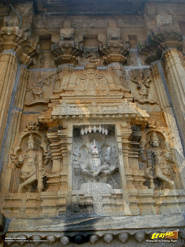Relief sculpture of the Hindu god Narsimha on the on the Southern wall of Vidyashankara Temple, in Sringeri, Chikkamagalur district, Karnataka, India