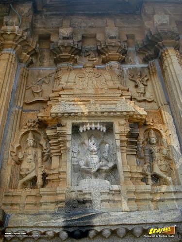 Relief sculpture of the Hindu god Narsimha on the on the Southern wall of Vidyashankara Temple, in Sringeri, Chikkamagalur district, Karnataka, India