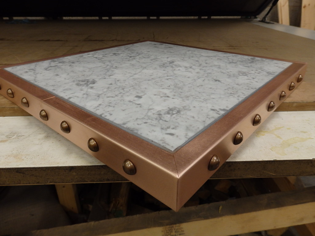 49 Marble Top With Copper Edge Trim And Antique Bronze S