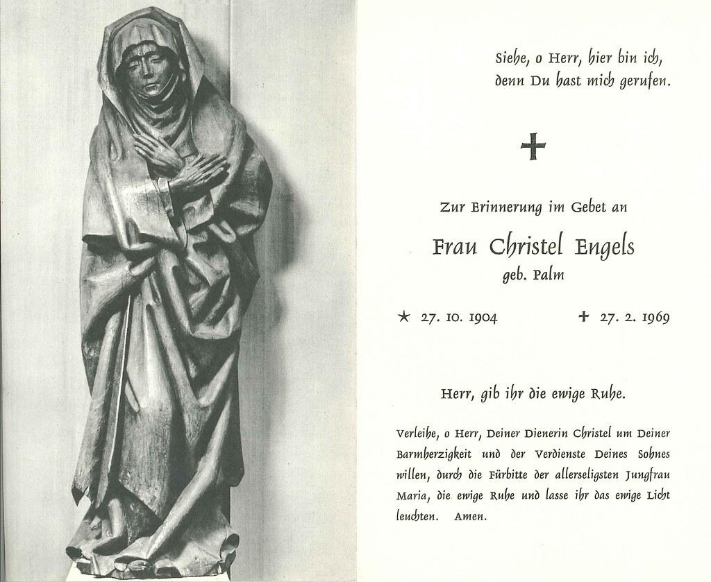 Totenzettel Engels, Christel † 27.02.1969