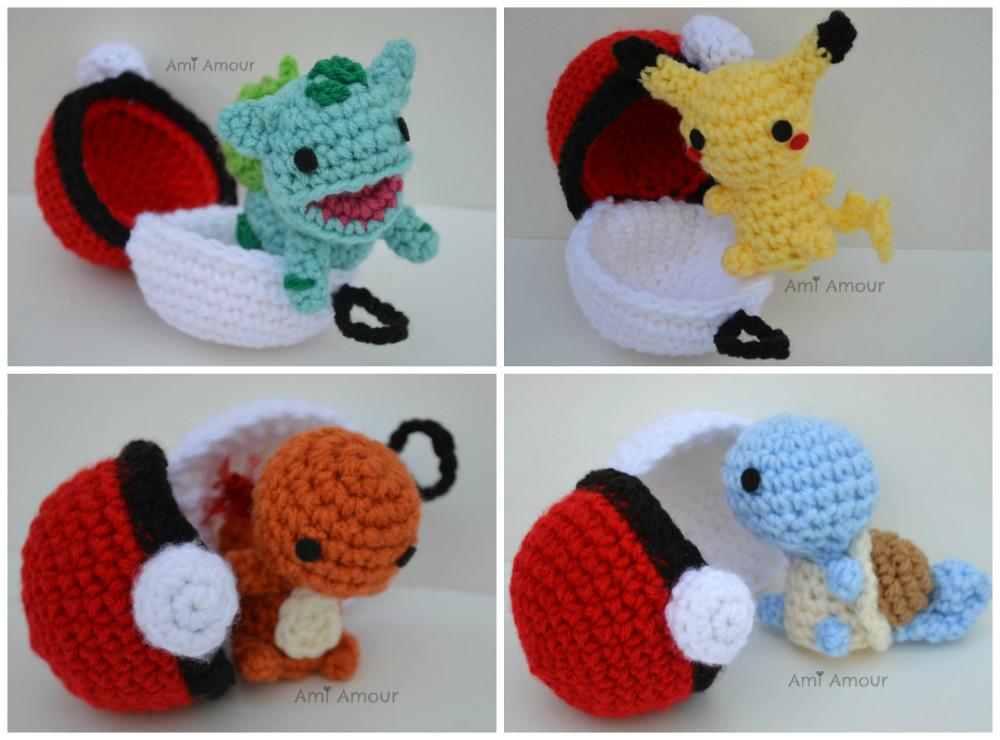 Pokemon Chibi Amigurumi Pattern : SurprisePokeballAA Chibi Pokemon with Pokeball Home www ...