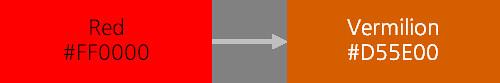 빨간색에서 주황 계열로 채도 변경을 나타내는 이미지
