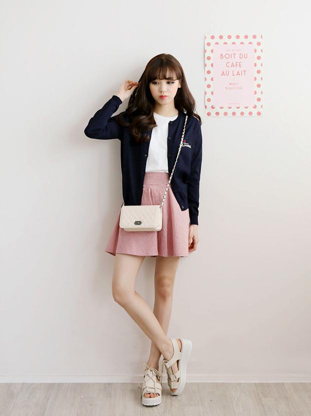 New Korean Woman Cotton High Waist Paid Preppy Style Skirt Flickr