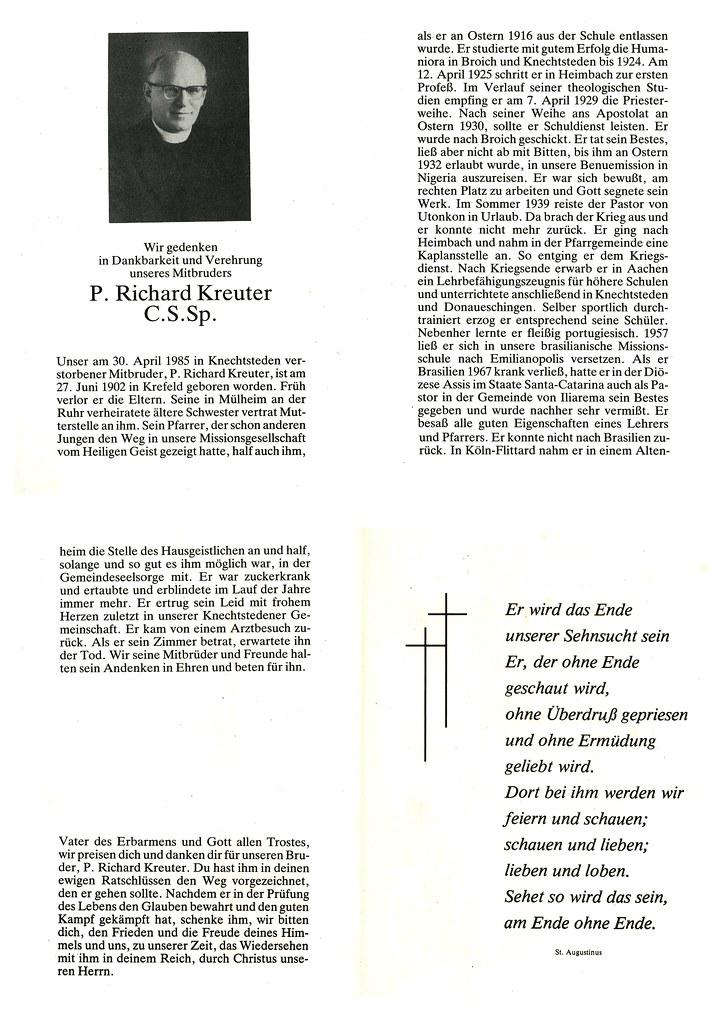 Totenzettel Kreuter, Pater Richard † 30.04.1985