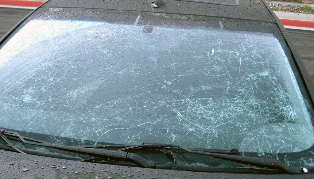 Hailstone Smashed Front Windshield Of A Car From 4 July 20