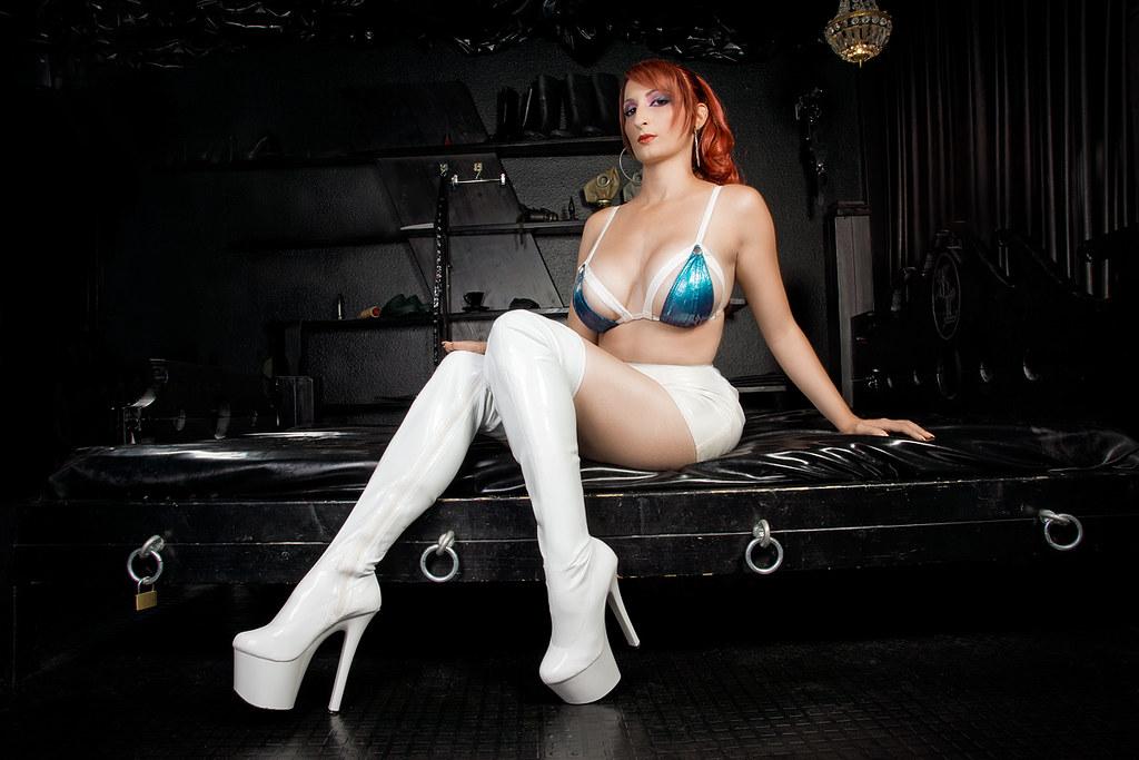 Helena Wearing White High-Heel Boots  Model, Styling -4741