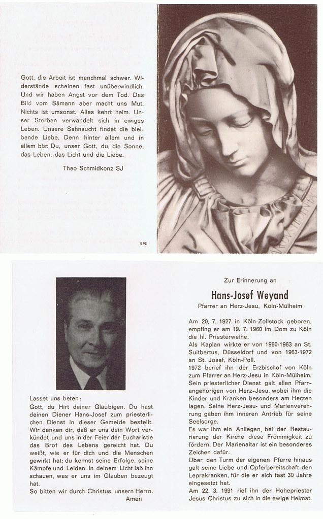 Totenzettel Weyand, Hans-Josef † 22.03.1991