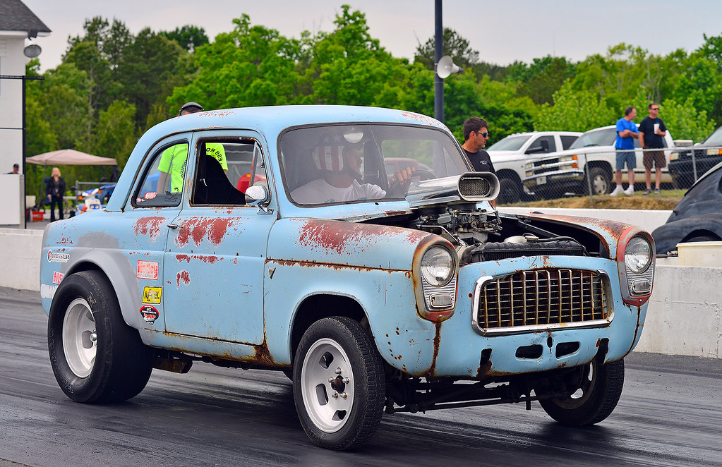English Ford Anglia Drag Car At The Steel In Motion