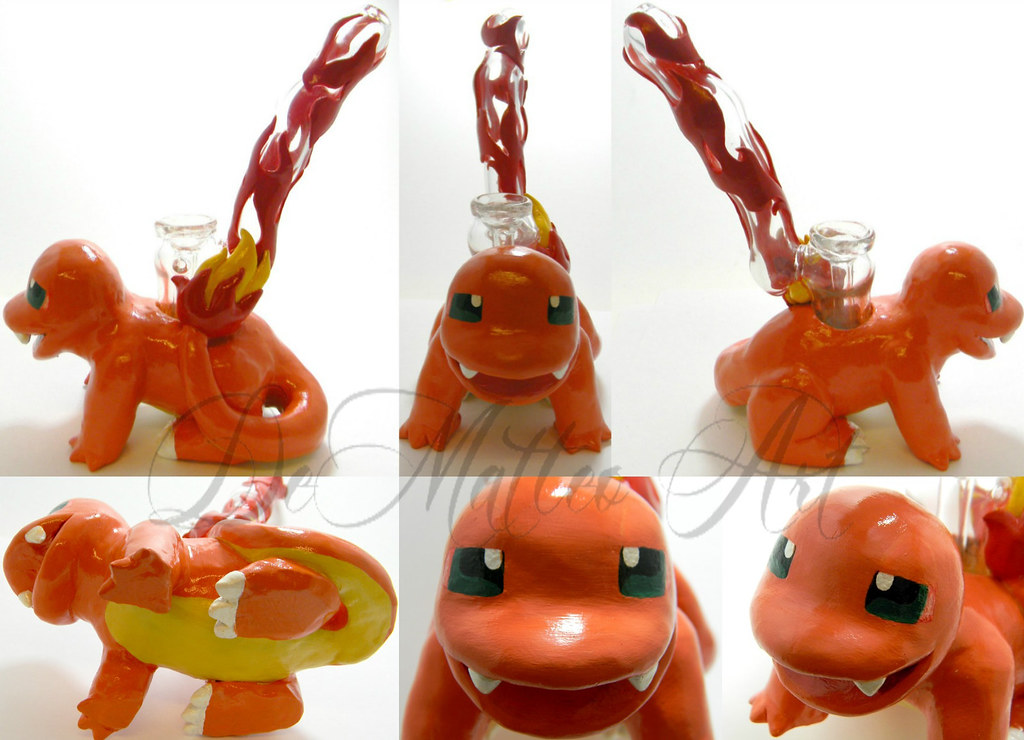 Fire Clay Pipes : Charmander pokemon inspired pipe made by dematteo art