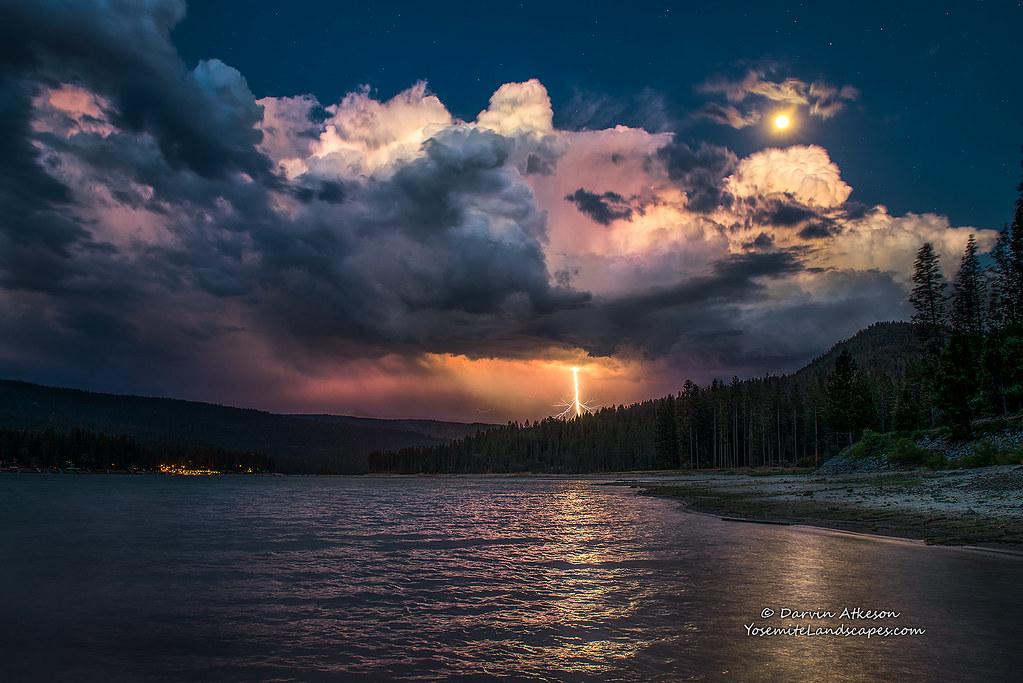 Lightning Strike And A Full Moon Over Bass Lake I