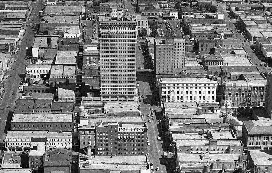 Aerial of downtown waco and the liberty building c 1950 for How far is waco texas from austin texas