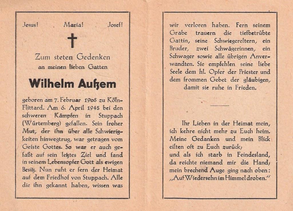 Totenzettel Aussem, Wilhelm † 06.04.1945