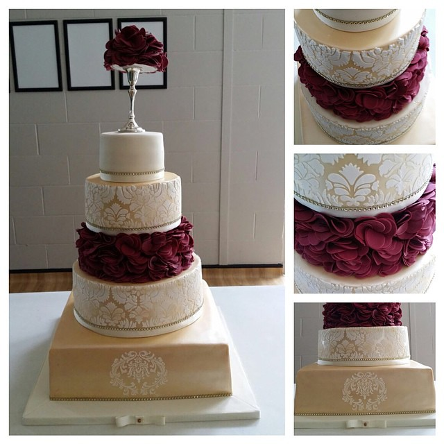 5 Tier Gold Amp Burgundy Ruffle Wedding Cake Top Tier Red V
