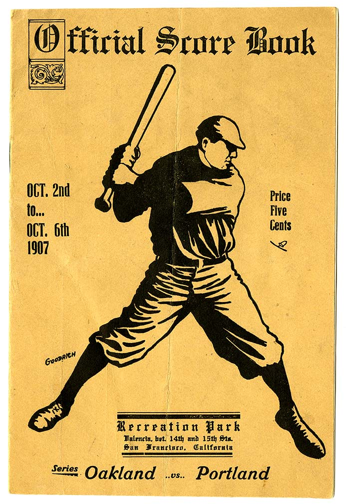 Official Score Book, Recreation Park, Series: Oakland vs. Portland [cover]