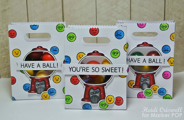 "Gumball goodie bag, using ""sweet  smiles"" stamp set and coordinated die by Lawn Fawn"