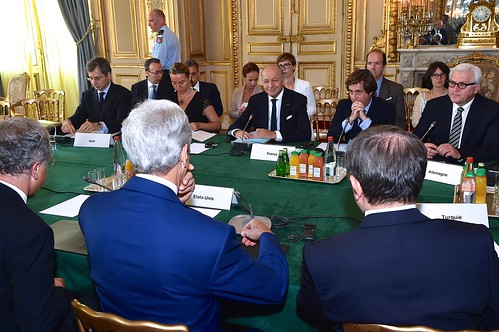 Secretary Kerry Sits With Fellow Foreign Ministers For Group Discussion in Paris About Cease-Fire in Gaza Strip | by U.S. Department of State
