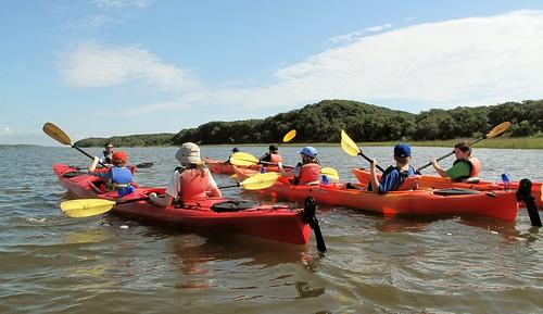 Campers kayaking in Guana Lake