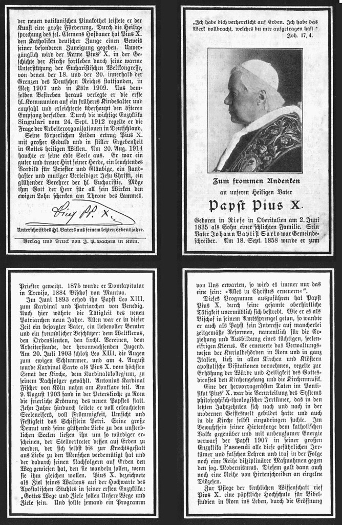 Totenzettel Papst Pius X. 20.08.1914