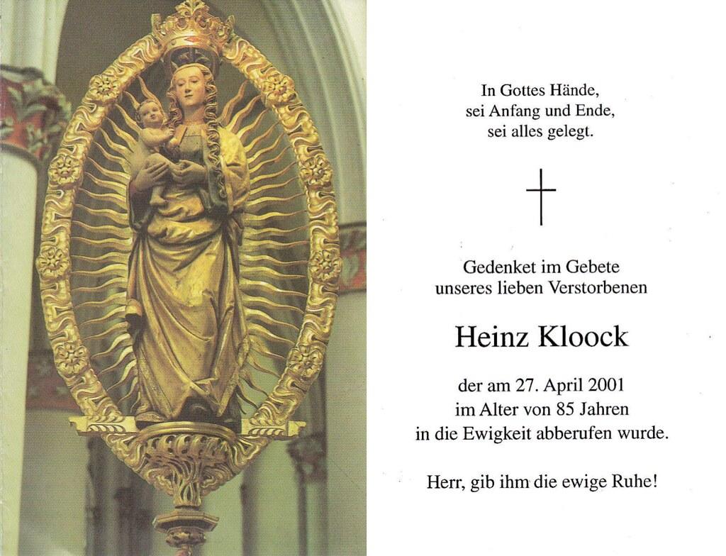 Totenzettel Kloock, Heinz † 27.04.2001