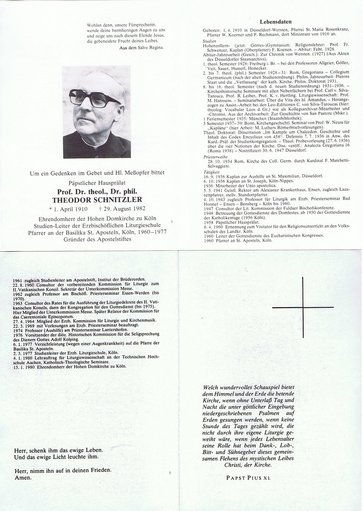 Totenzettel Schnitzler, Theodor † 29.08.1982
