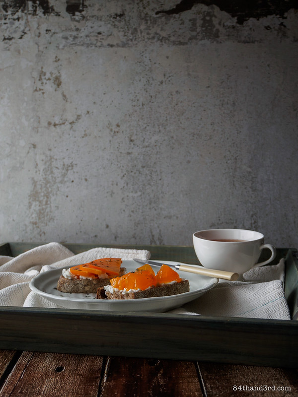 Persimmon, Goat Cheese & Thyme Tartine