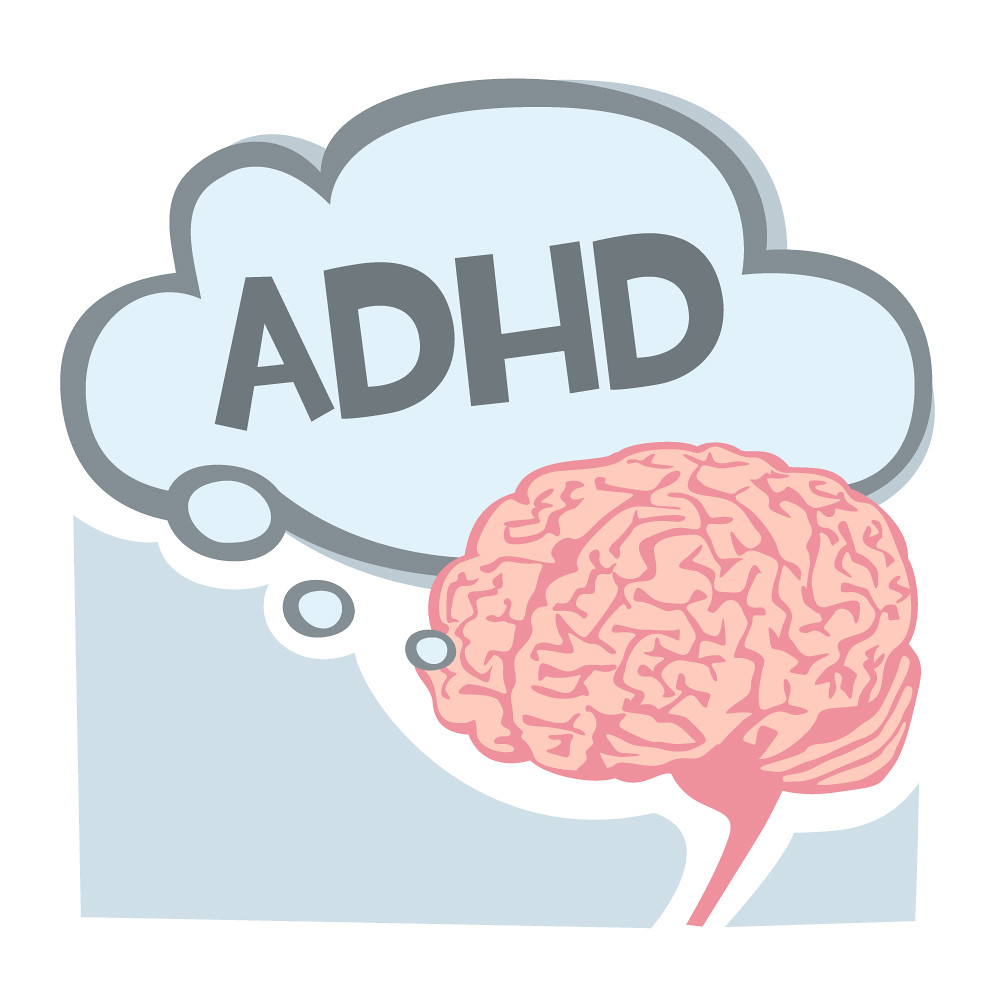 Adhd Bubble And Brain Illustration Of A Brain With An
