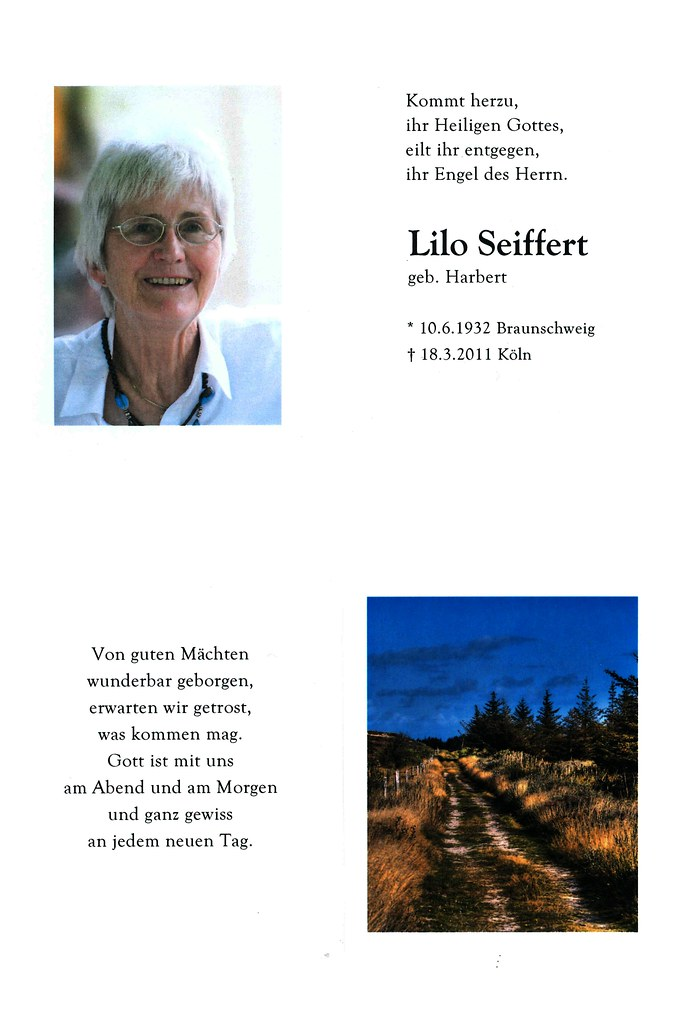 Totenzettel Seiffert, Lilo † 18.03.2011