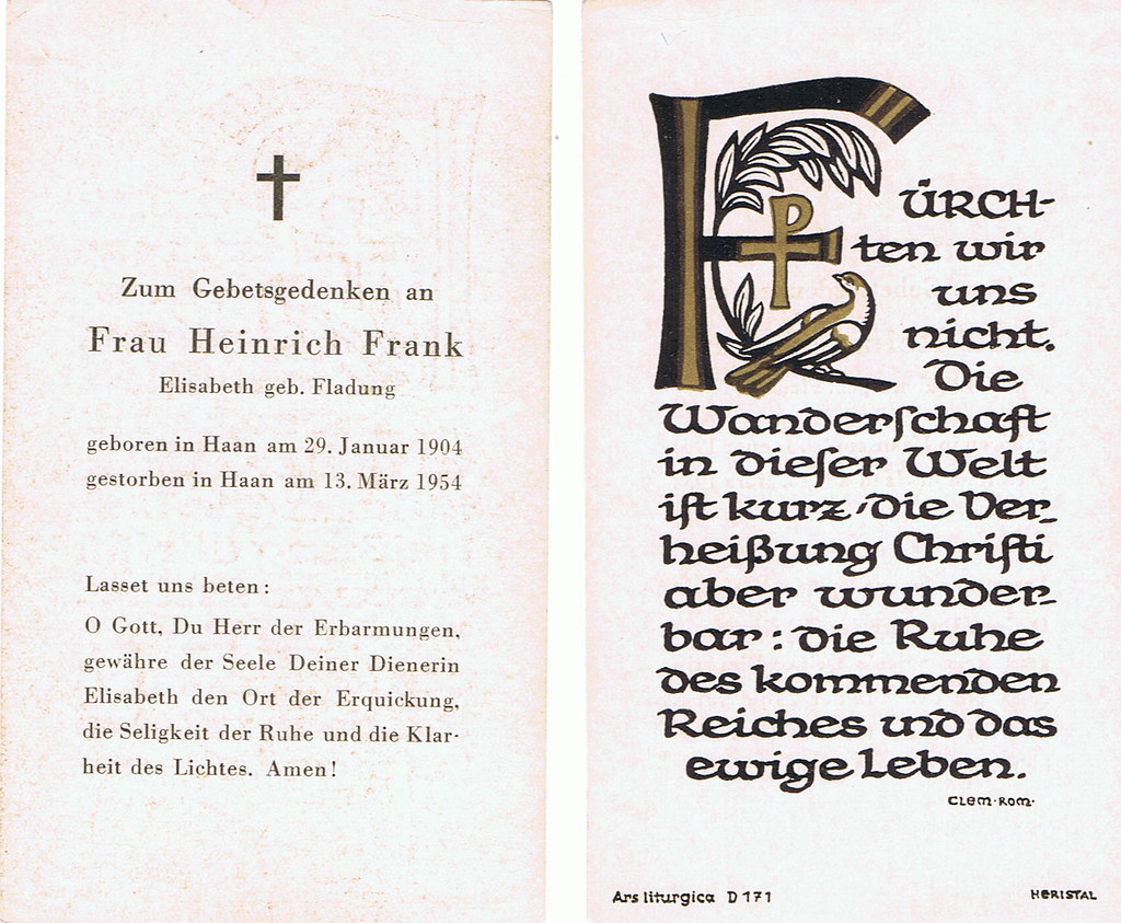 Totenzettel Fladung, Elisabeth † 13.03.1954