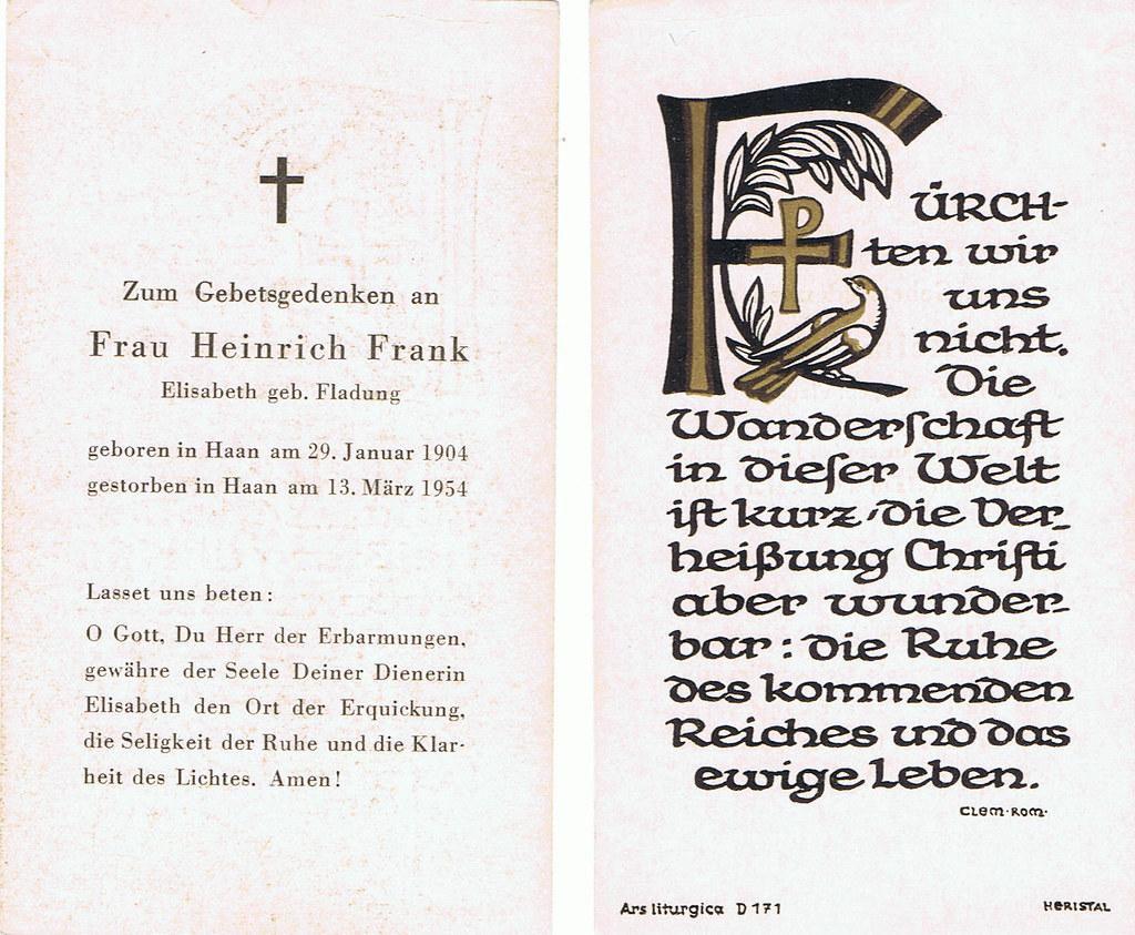 Totenzettel Frank, Elisabeth † 13.03.1954