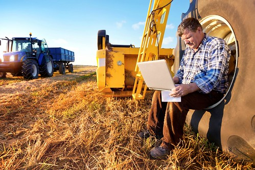 Organic farmer on his computer