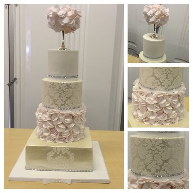 Champagne & Damask Wedding Cake with Coral & Blush Pink ru… | Flickr